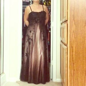 Cache brown&black beaded evening dress 2 tiers